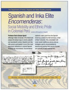 "Rocío Quispe-Agnoli: ""Spanish and Inka Elite Encomenderas"""