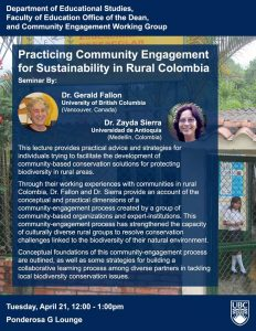 Talk: Community Engagement for Sustainability in Rural Colombia