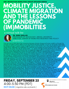 Mimi Sheller – Mobility Justice, Climate Migration and the Lessons of Pandemic (Im)mobilities